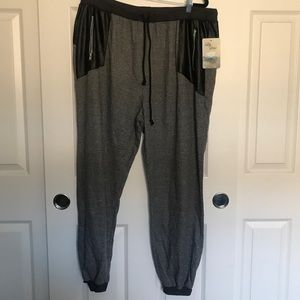 LILY STAR Gray Joggers with Faux Leather Accents